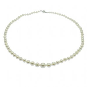 Graduated Pearl Necklace 14ct Gold 4-9MM White Pearls